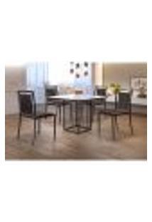 Conjunto De Mesa De Jantar Hera Com Tampo De Vidro Mocaccino E 4 Cadeiras Grécia I Couríssimo Marrom E Preto