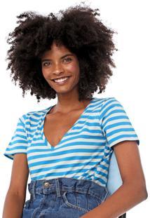 Blusa Cantão Listrada Branca/Azul