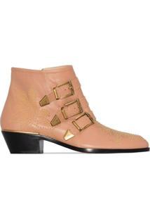 Chloé Ankle Boot Susanna Com Fivela E Salto 30Mm - Rosa