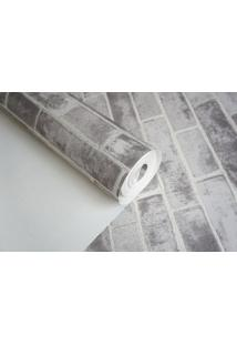 Papel De Parede Texturizado Maya Wallpaper 0,53 X 9,5M Tijolinho Cinza