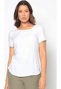 Blusa Texturizada Com Renda Guipir- Branca- Vip Resevip Reserva