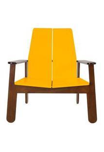 Poltrona Paleta Estrutura Cacau Acabamento Amarelo 88Cm - 61083 Amarelo