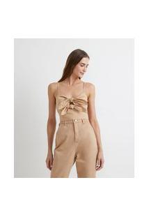 Blusa Cropped Em Tricoline Com Laços Frontais E Alças Finas