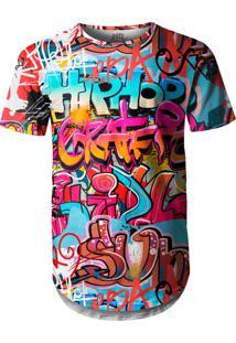 Camiseta Longline Over Fame Hip Hop Multicolorido