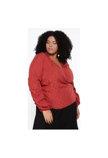 Blusa Almaria Plus Size Pianeta Ampla Viscose Maquinetada Vermelho