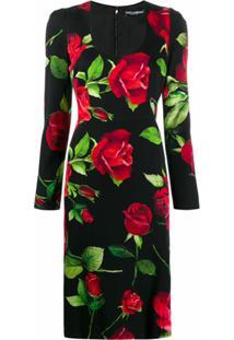 Dolce & Gabbana Vestido Com Estampa Rosa - Preto