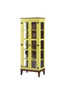 Cristaleira Bia 2 Portas Cor Amarelo Com Amendoa 180 Cm - 62927 Amarelo