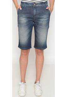 Bermuda Jeans Estonada- Azul Escuro- Benettonbenetton