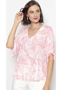 Blusa Floral- Rosa Claro & Salmão- Cotton Colors Extcotton Colors Extra
