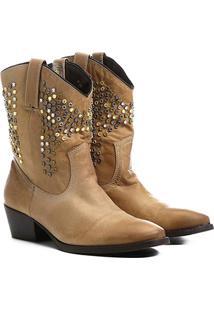 Bota Couro Country Shoestock Tachas E Pedras Feminina - Feminino-Bege