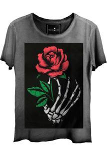 Camiseta Estonada Skull Lab Flores Caveira Grafite