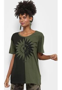 Camiseta Cantão Estampa Power Equality Feminina - Feminino-Musgo