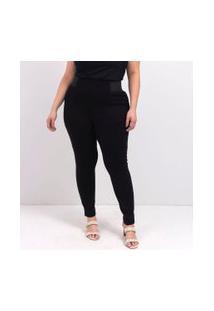 Calça Legging Com Elástico Na Lateral Curve & Plus Size | Ashua Curve E Plus Size | Preto | Eg