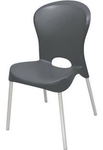 Cadeira Jolie Base Aluminio Polido Cor Preto
