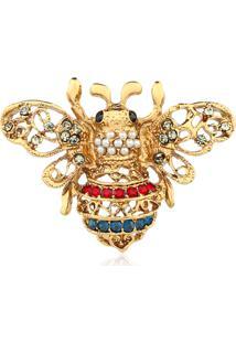 Broche Rincawesky Mariposa Vazada Dourada