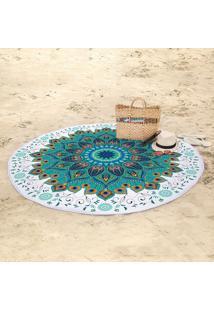 Toalha De Praia Redonda Aveludada Lepper Pavão 155Cm Azul Claro