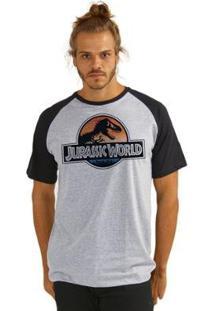 Camiseta Raglan Jurassic World Logo Masculina - Masculino-Colorido