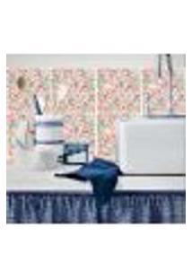 Adesivo De Azulejo Floral Atraente 10X10Cm