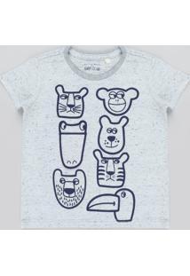 Camiseta Infantil Com Estampa Interativa De Bichos Manga Curta Gola Careca Cinza Mescla