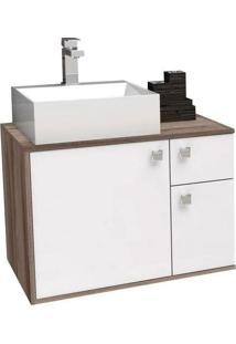 Gabinete Para Banheiro 60Cm Mdf Caeté Branco E Tamarindo Sem Cuba 60X43,2X41,5Cm - Cozimax - Cozimax