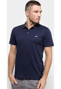 Camisa Polo Lacoste Malha Original Fit Masculina - Masculino-Azul