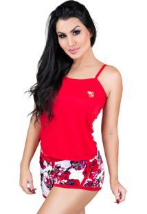 Pijamas Mvb Modas Curto Adulto Regata E Short Doll Vermelho - Vermelho - Feminino - Poliã©Ster - Dafiti