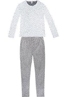 Pijama Longo Hering Poá Feminino - Feminino