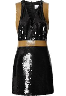 Burberry Tape Detail Sequinned Mini Dress - Preto