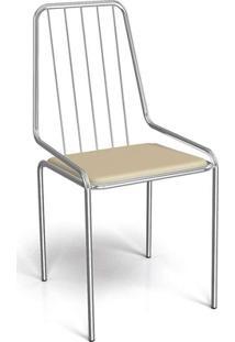 Cadeira De Jantar Benin Cromada E Marrom Claro