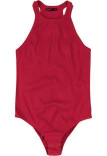 Body Listrado Em Malha De Algodão Com Decote Costas Nadador