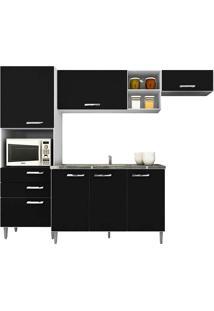 Cozinha Compacta Com Tampo 4 Peças Natália - Poquema - Preto