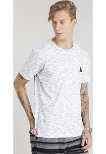 """Camiseta Masculina Flamê Com Estampa """"Tubarão"""" Manga Curta Gola Careca Branca"""