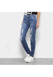 Calça Jeans Skinny Forum Rasgos Cintura Média Feminina - Feminino
