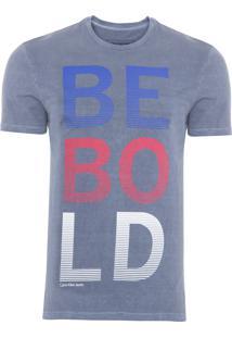 Camiseta Masculina Estampa Estonada - Azul