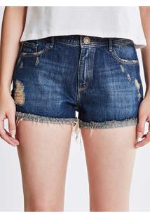 Short Em Jeans Escuro Com Barra Desfiada