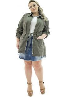 Parka Jeans Confidencial Extra Plus Size Veludo Militar Feminina - Feminino-Verde