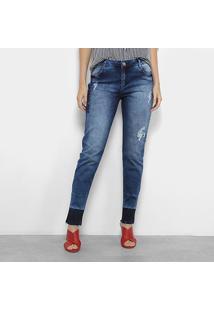 Calça Jeans Slim Morena Rosa Com Bordado Feminina - Feminino-Jeans