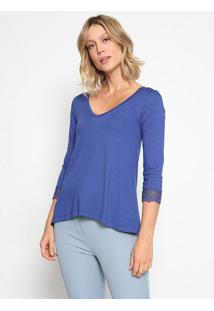 Blusa Lisa Com Tule Bordado- Azul Escuro- Thiptonthipton
