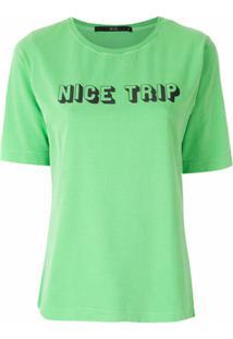 Eva Blusa Silk Nice Trip - Verde