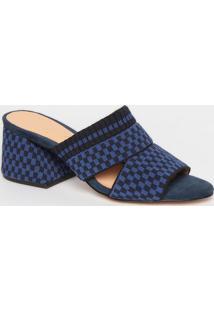 Tamanco Em Couro Texturizado & Geométrico- Azul Marinholuiza Barcelos
