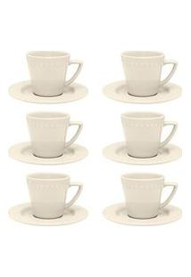 Conjunto 6 Xícaras De Chá Com Pires Mendi Marfim Oxford