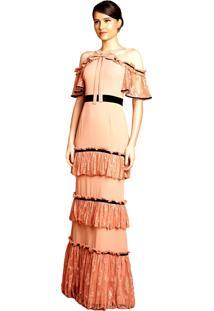 Vestido Izadora Lima Longo Com Renda E Cinto Preto Em Veludo Nude