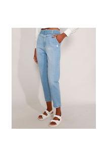 Calça Mom Jeans Cintura Super Alta Com Cinto E Puídos Azul Claro