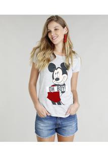 f101d8b5f9 Blusa Feminina Mickey Manga Curta Decote Redondo Cinza Mescla