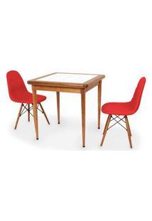 Conjunto Mesa De Jantar Em Madeira Imbuia Com Azulejo + 2 Cadeiras Botonê - Vermelho