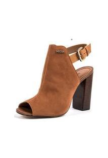 Sandalia Salto Bloco Estilo Sandal Boot Marrom