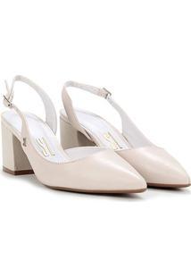 Scarpin Couro Santa Lolla Chanel Salto Médio Grosso - Feminino-Off White