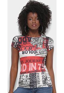 Camiseta Triton Estampada Feminina - Feminino-Cinza+Vermelho