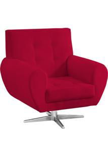 Poltrona Decorativa Beluno Suede Vermelho Base Estrela Aço Cromado - D'Rossi