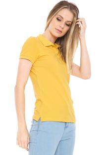 Camisa Pólo Amarela Manga Curta feminina  11deca6727954
